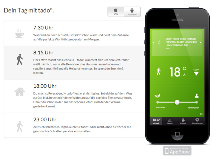 Die tado° App in Aktion