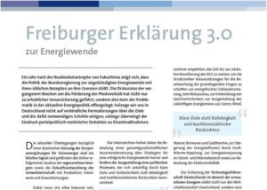 Freiburger Erklaerung 3.0 Neuer Protest gegen Solarkuerzung der Bundesregierung