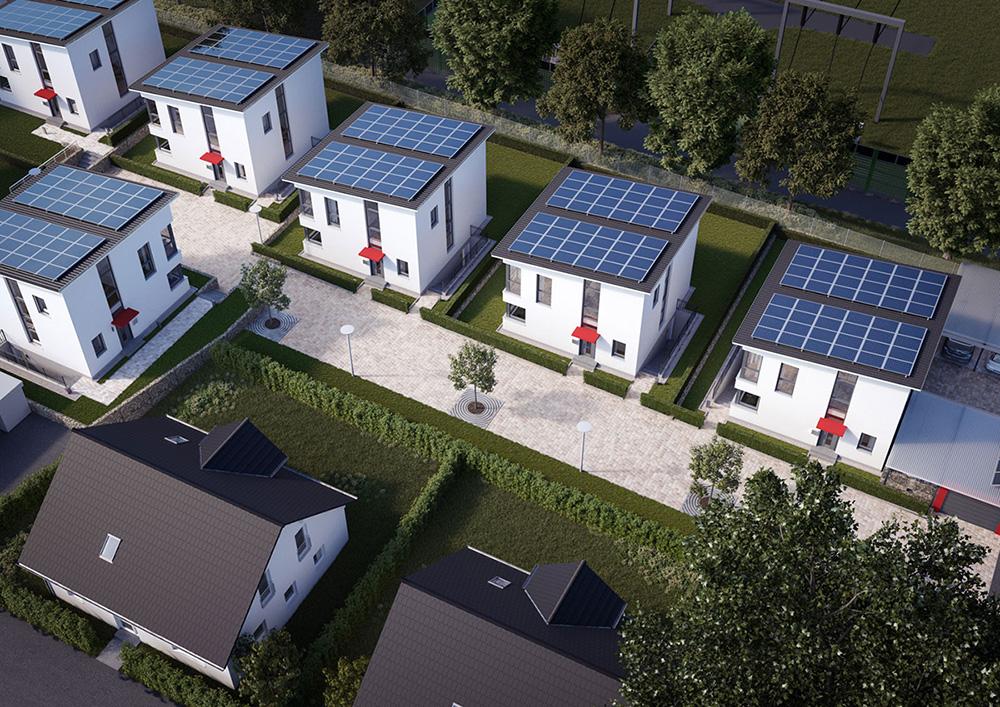 Eigenversorgung von Wohngebäuden mit regenerativer Energie: Im Herner Stadtteil Sodingen entstehen sieben Modellhäuser. | © Foto Stadtwerke Herne