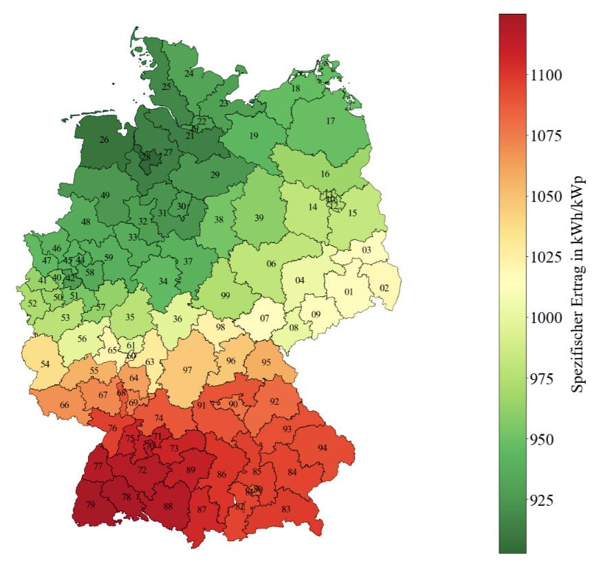Spezifischer Ertrag in kWh/kWp in geneigter Modulebene (Südausrichtung, 30° Modulneigung) für Photovoltaikanlagen in Deutschland im Kalenderjahr 2017