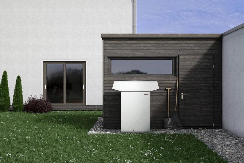 Luft Wasser-Wärmepumpe zum Heizen und Kühlen. Hier als Außenaufstellung, je nach Zubehör auch als Innenaufstellung einsetzbar.
