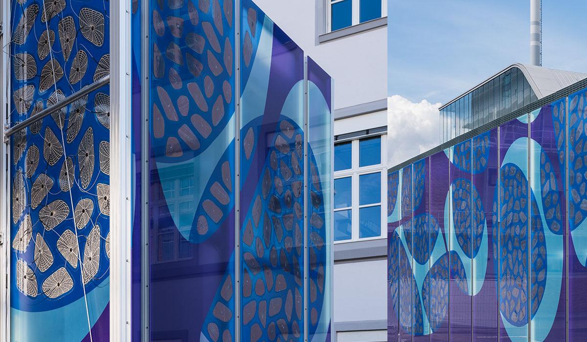OPV-Module, integriert in farbig-bedruckte, teil-transparente ETFE-Folien