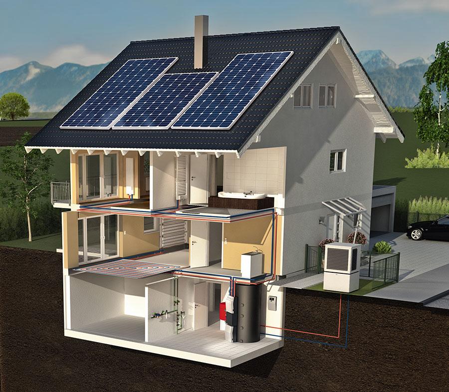 Kermi x-change dynamic Wärmepumpen sind mit der sogenannten Power-to-Heat Funktion ausgestattet. Diese sorgt für die effiziente Nutzung von überschüssigem PV-Strom. Die dadurch von der Wärmepumpe erzeugte thermische Energie wird wiederum im Wärme- bzw. Pufferspeicher bevorratet, bis sie zum Heizen benötigt wird. | Bildquelle: Kermi GmbH