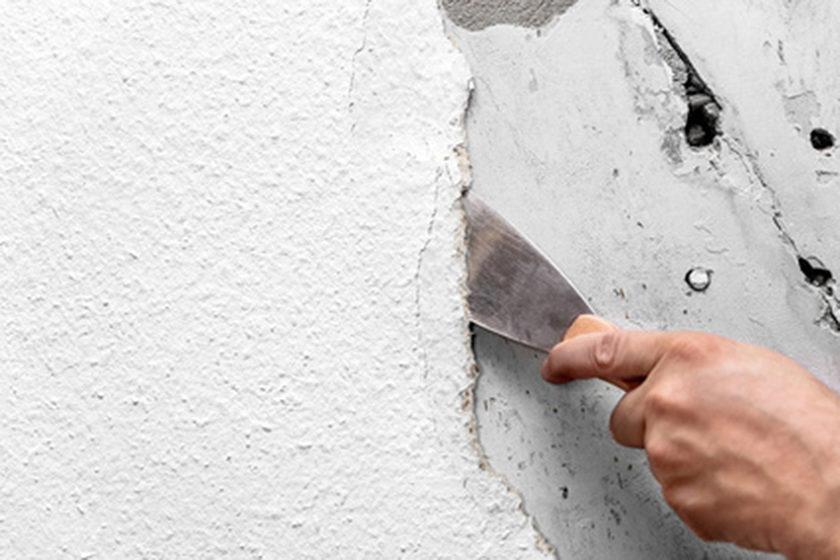 In ca. 25 % der Gebäude, die vor 1993 errichtet wurden, sind asbesthaltige Putze, Spachtelmassen und/oder Fliesenkleber feststellbar. | Bildquelle: © M.Dörr & M.Frommherz