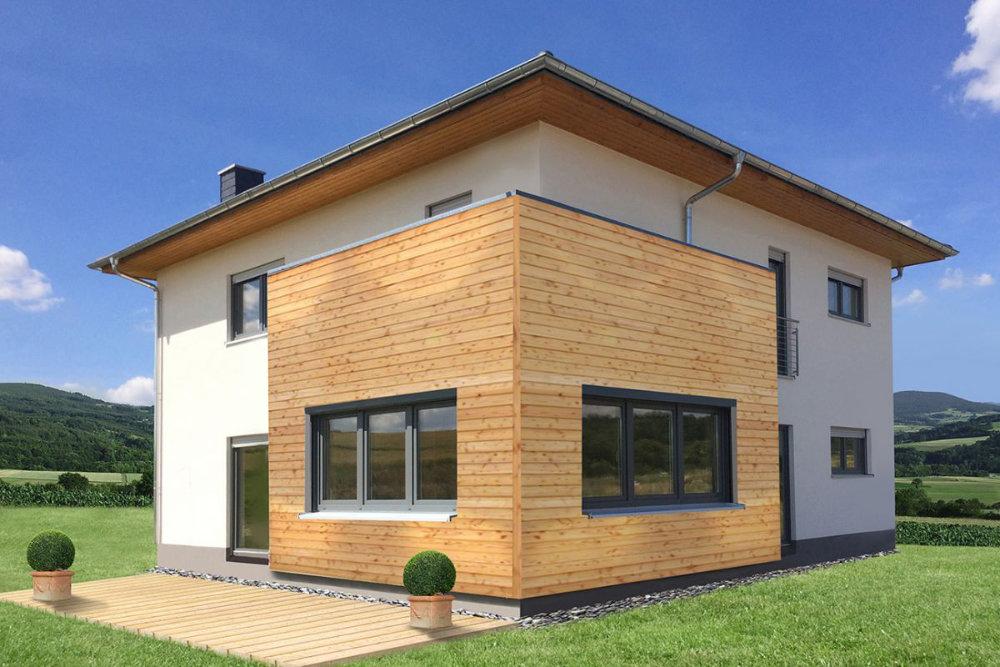 Im modernen Referenzgebäude von Holzbau Buss sorgt eine Luft-Wasser-Wärmepumpe von Buderus für hohen Wärme- und Warmwasserkomfort. Bild: Holzbau Buss