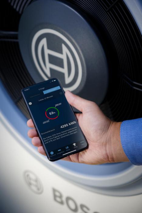 Per App lassen sich die Einspar-Erfolge durch den Einsatz des Energiemanagers von Bosch anzeigen. Hier die Ansicht des Anteils des selbst produzierten Stroms. (Quelle: Bosch)