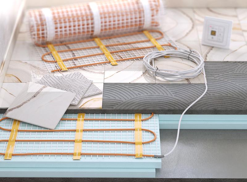 Bestandteile einer elektrischen Fußbodenheizung