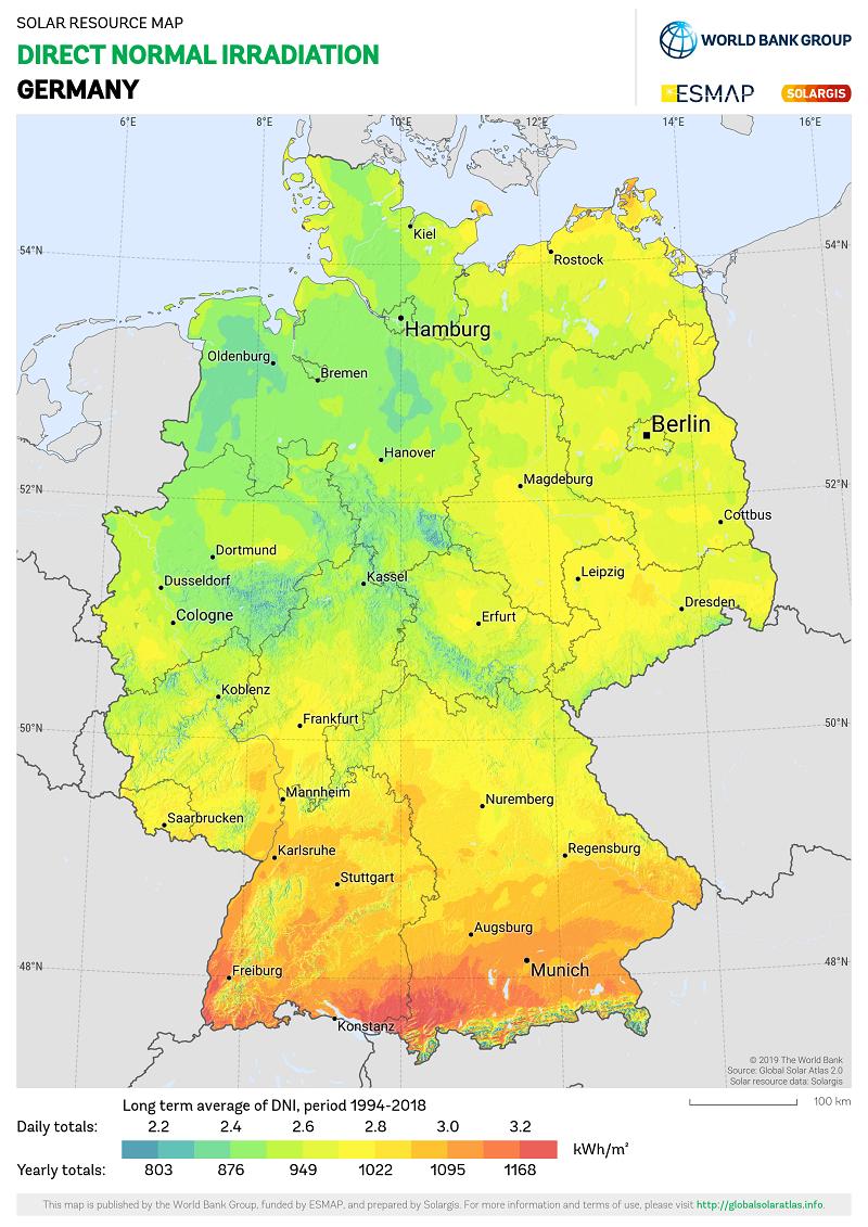 Karte Sonneneinstrahlung in Deutschland