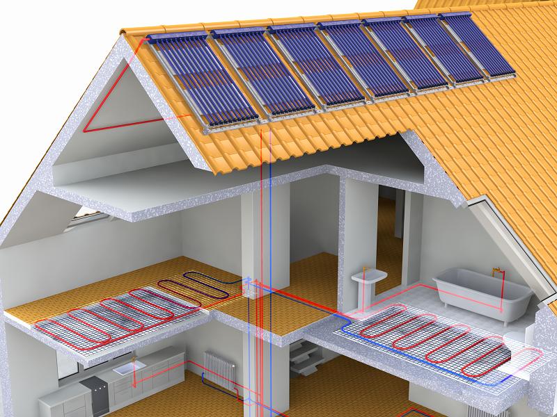 Querschnitt Haus mit Photovoltaik und Fußbodenheizung