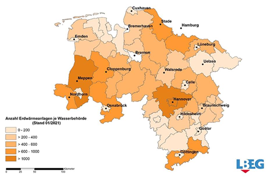 Erdwärme-Nutzung in Niedersachsen 2020 (Grafik: Landesamt für Bergbau, Energie und Geologie (LBEG))