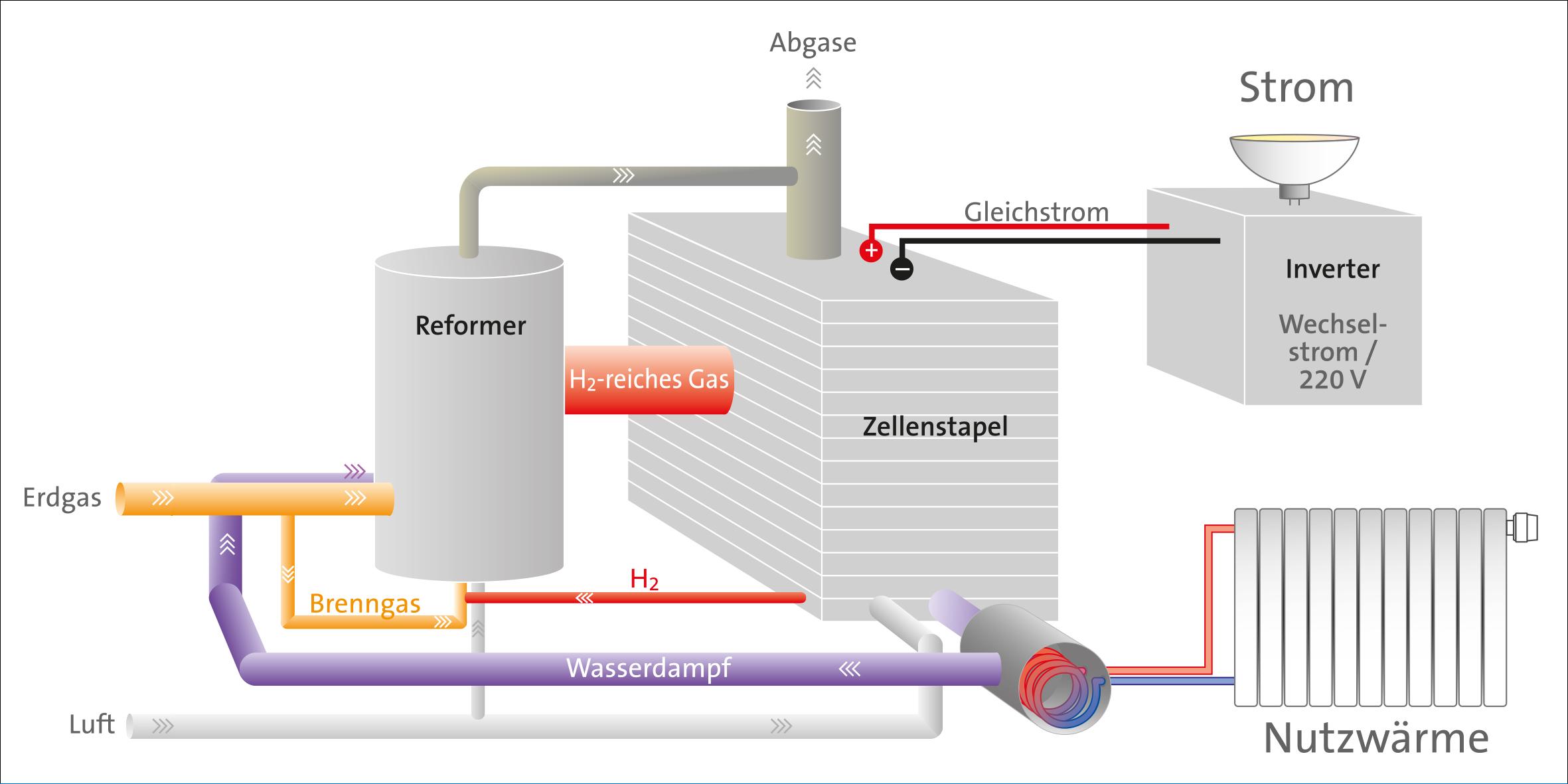 Grafik: Funktionsweise der Brennstoffzelle